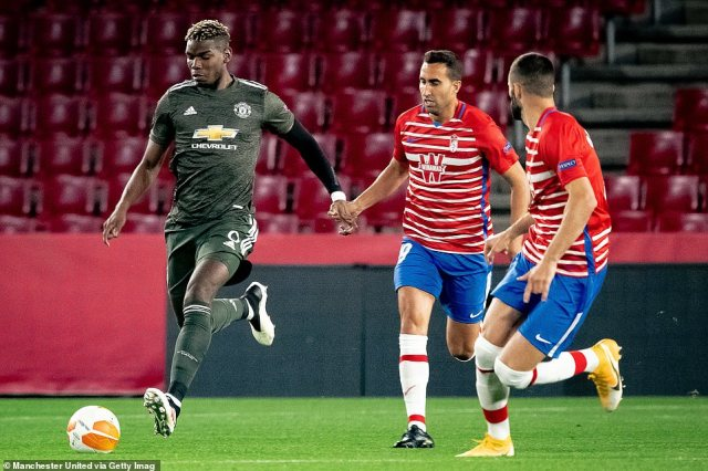 Pogba started at the heart of United's midfield and also picked up a caution as Granada looked to test the visitors' backline