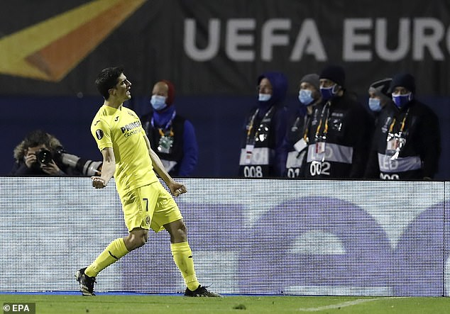 Gerard Moreno celebrates after putting Villarreal ahead from the penalty spot in Zagreb