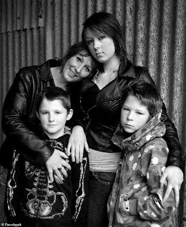 Charmaine O'Shea with her children Tillz (centre), Jack (left) and Rory (right) in a photo posted in 2012
