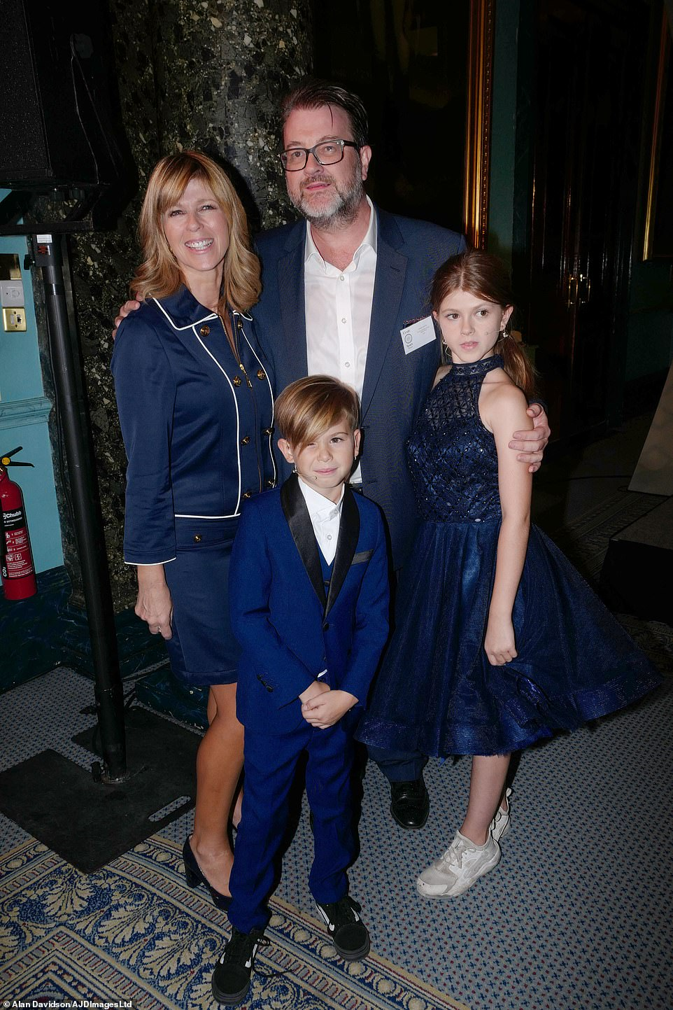 Happy news: Kate Garraway's husband Derek Draper is finally home after spending more than a year in intensive care following a battle with coronavirus (pictured in 2018 with Kate and children Darcey, 15, and Billy, 11)