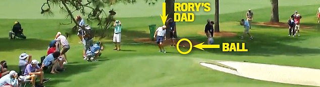 McIlroy's wayward shot on the seventh struck his dad on the back of the leg on Thursday