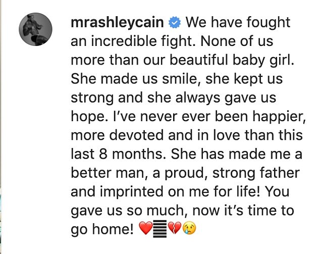 Devoted: Beneath Safiyya's heartfelt caption, Ashley wrote of their daughter: 'She has made me a better man, a proud, strong father and imprinted on me for life!'