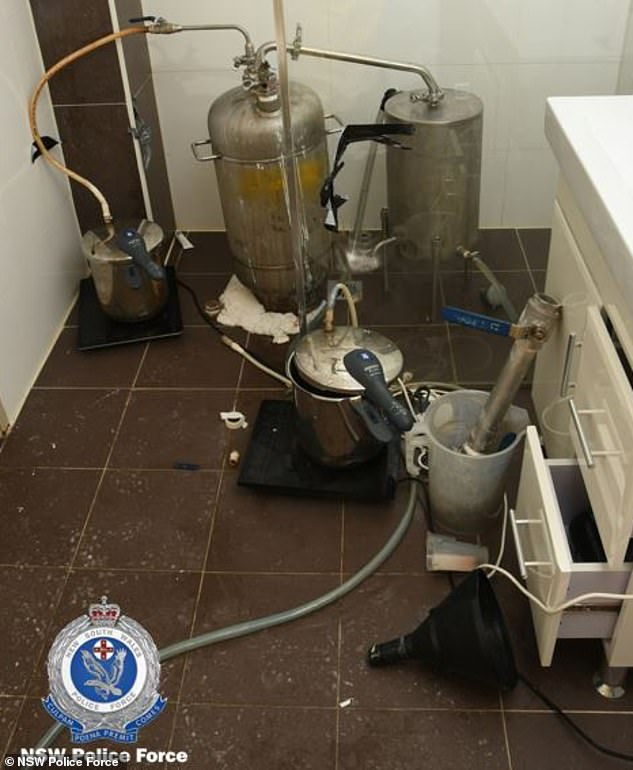 Officers discovered the couple's clandestine lab inside an Airbnb property in Camperdown in April last year (pictured)