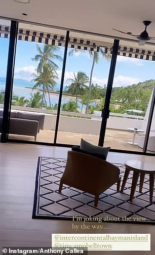 Paradise: On Thursday, the Prayer singer showed off his lavish $1200-a-night suite at the Island resort