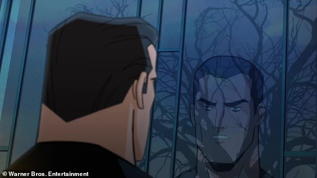 Thought wrong:Batman is seen picking up Dent as she says, 'I thought you didn't hurt people?' with Batman responding, 'You thought wrong'