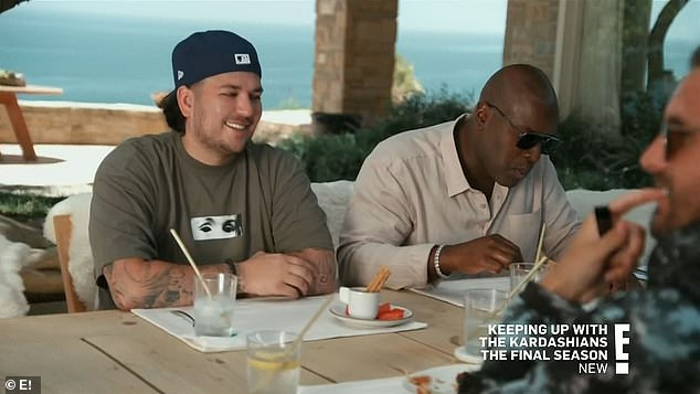 Family affair:As they dined, Rob Kardashian, 34, told his niece, North West, seven, 'Hey, you didn't eat any of those chicken nuggets!'