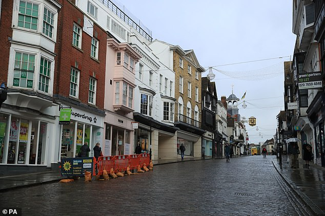 The deserted High Street in Guildford, Surrey, the morning after Boris Johnson announced the third lockdown, on January 5