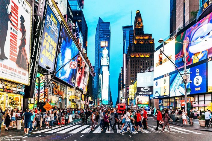 Today's Global Travel Taskforce report will not commit to a start date for the resumption of foreign trips, which are currently banned. Pictured: Could tourists be jetting off to New York if the US is included on the 'green list'?