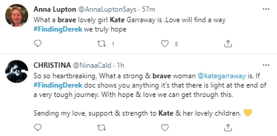 Tears:Viewers were also left in tears over the programme as they took to Twitter to praise Kate for being 'brave' and 'resilient'