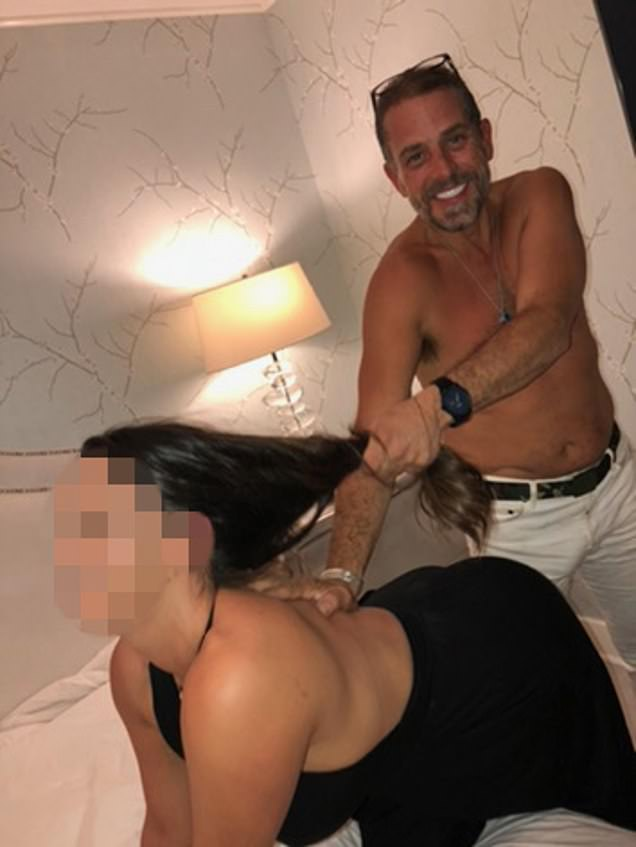Hunter's laptop is brimming with evidence of apparent criminal activity by him and his associates including drug trafficking and prostitution. This photo of him grabbing a woman's hair was recovered from his laptop