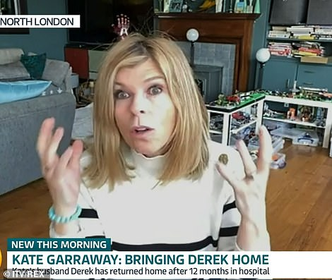 Kate Garraway has discussed the moment husband Derek Draper returned home and was reunited with his children after more than a year in intensive care following Covid battle.