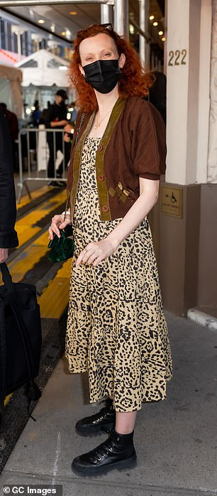 Casually cool: Earlier, Karen was seen arriving at the show in casually cool style