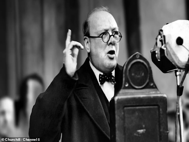 Churchill, who had become PM in May 1940 after a decade in the political wilderness, was under intense pressure from his war cabinet to sign a peace deal with Adolf Hitler after the Nazi leader's forces stormed through Europe and encircled Britain. Pictured: Churchill giving a speech during his time as Prime Minister
