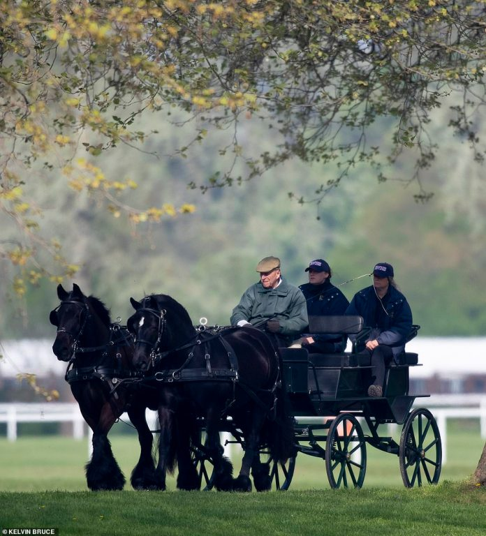 The Duke of Edinburgh pictured for a carriage ride through the grounds of Windsor Castle on April 22, 2019