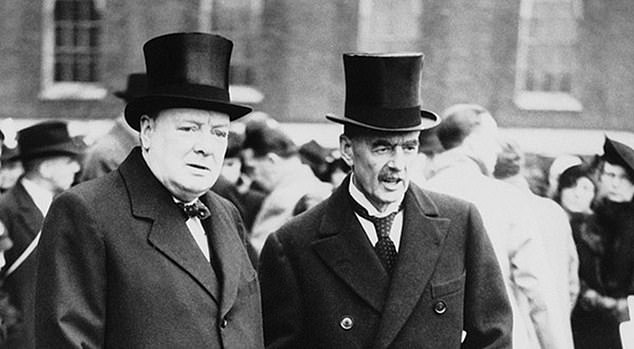 After Hitler's forces invaded Poland in September 1939 and the then Prime Minister Neville Chamberlain (right with Churchill) declared war, Churchill was recalled to the Government to serve as First Lord of the Admiralty, where he was in charge of the Royal Navy