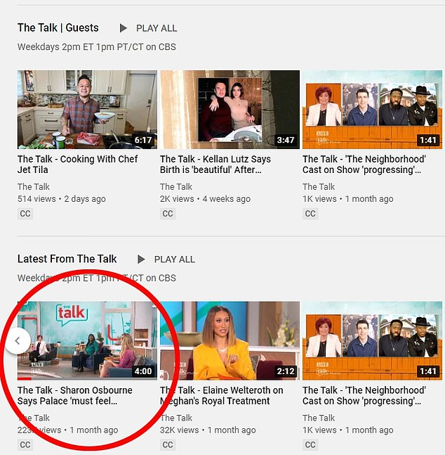 The four-minute clip remains on The Talk's YouTube page, with ads attached, although CBS fired Osbourne after defending critics of Piers Morgan, Markle.