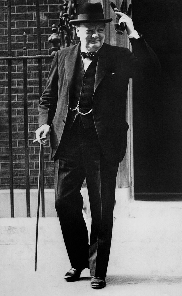 The most famous part of Churchill's speech is when he said Britain would 'go on to the end' and would 'fight on the beaches' and 'in the streets'. Pictured: Churchill outside Number 10 Downing Street