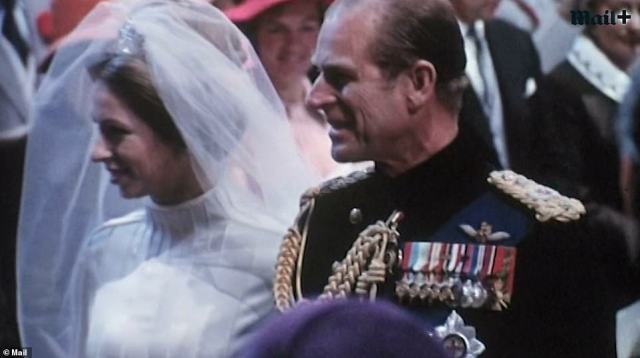 Alongside mention of his impeccable national service, tributes to the Duke also mentioned his role as a father and grandfather. Here he is walking daughter Princess Anne down the aisle in 1973
