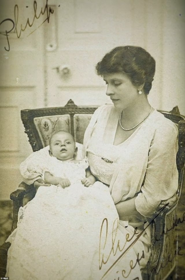 The Greek prince's early life was marked by upheaval. As an infant (pictured), Philip was smuggled out of Greece in a fruit crate, while his father eluded execution before finding refuge for his family in Paris