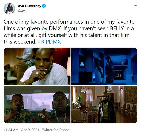 Acting talents: Filmmaker Ava DuVernay urged her followers to watch DMX's performance in the Hype Williams movie Belly (1998)