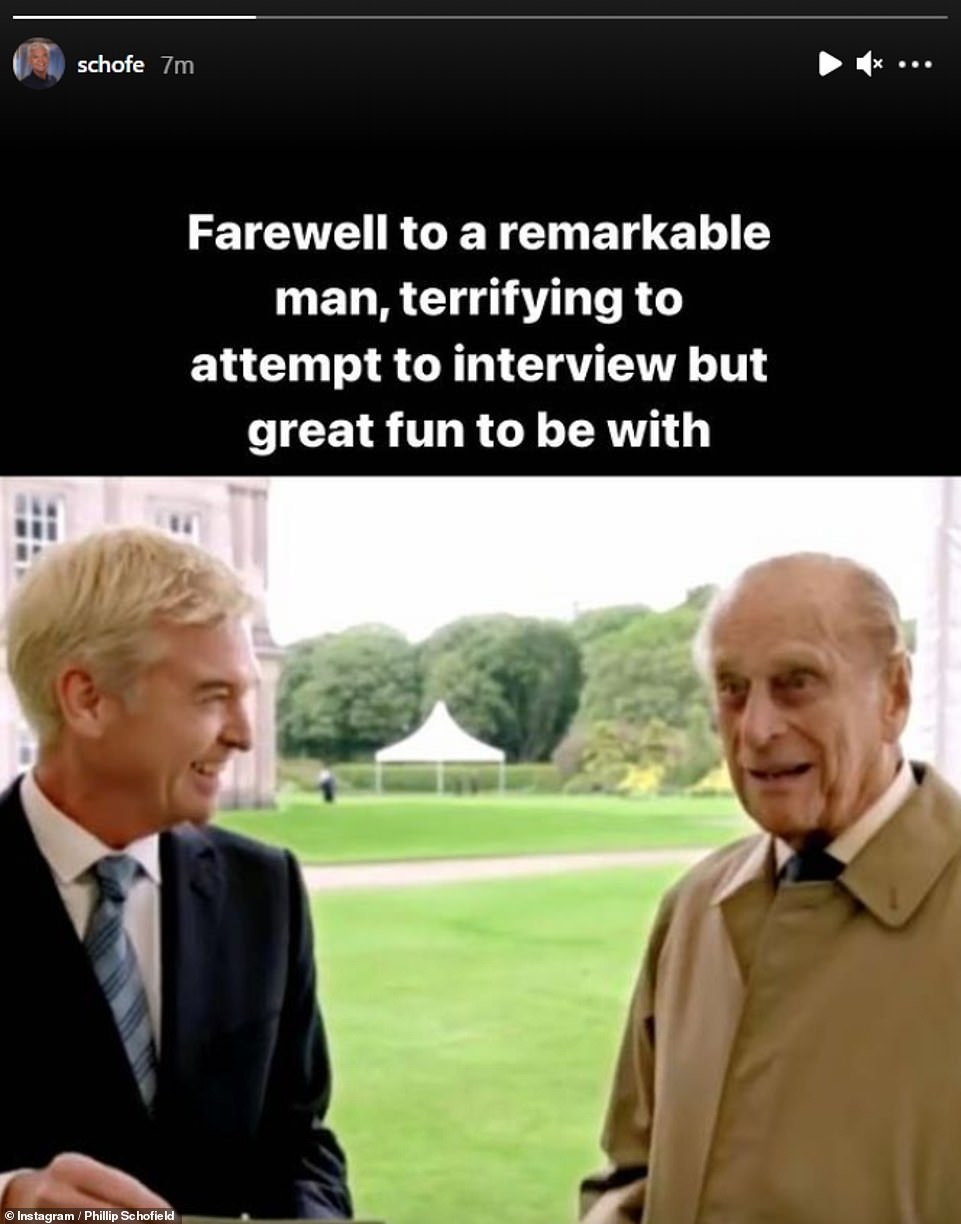Tragedy:After Buckingham Palace announced his passing on Friday, celebrities including Phillip Schofield took to social media to reflect on Prince Philip's life and offer their sympathies to his wife, Queen Elizabeth II