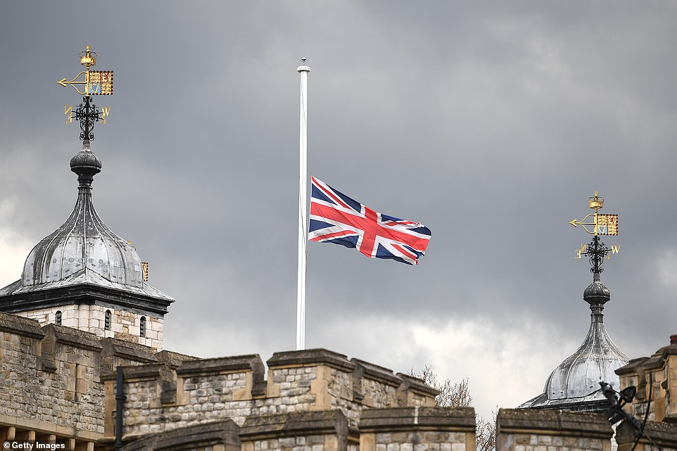 The Union flag flies half mast at The Tower of London on April 09 following the death of Prince Philip