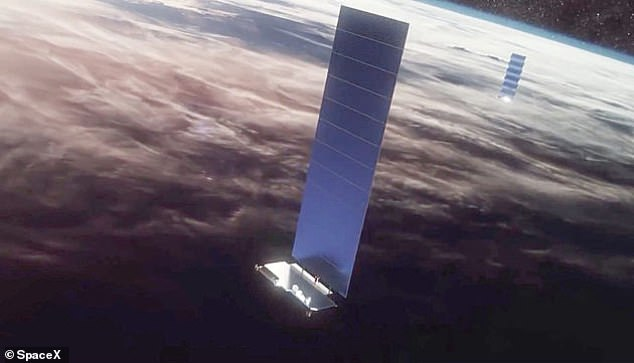 Starlink 1691 was launched in September last year but is understood to have been lowered out of operational orbit at 340 miles in April. This artist's impression shows a Starlink satellite