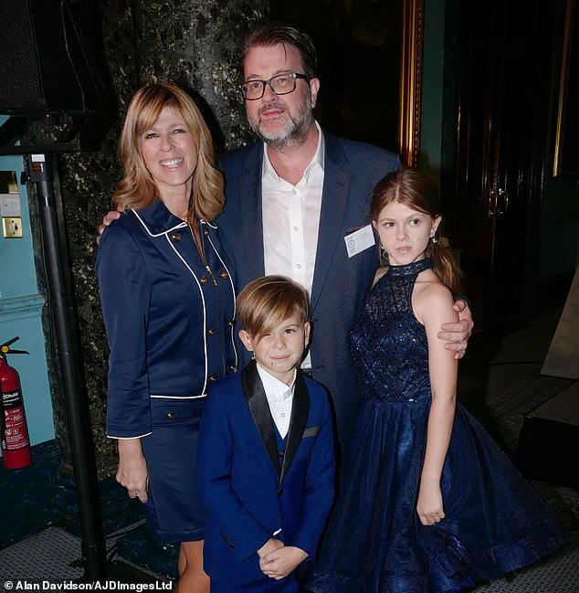 Happy news: Derek Draper is finally home after spending more than a year in intensive care following a battle with coronavirus (pictured in 2018 with Kate and children Darcey, 15, and Billy, 11)
