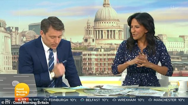 Touching:Elsewhere on the show, Kate's co-host Ben Shephard appeared to be trying to fight back tears as he spoke about the news Derek would be returning with co-host Ranvir Singh