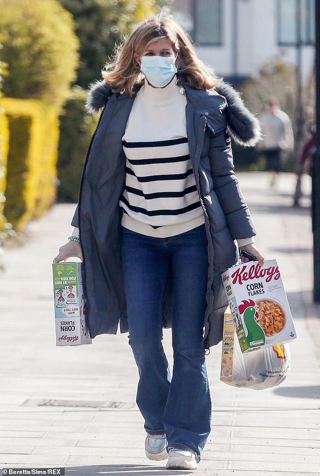 Stocking up:Kate Garraway was seen stepping out to pick up some essentials on Friday, days after her husband Derek Draper returned home following a year in hospital