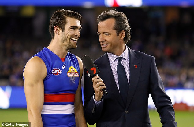 Inspiration: When asked whose career at Seven she is inspired by or would like to emulate, Abbey said of Hamish McLachlan (pictured with Easton Wood):'He's a great person, but he also gives people a platform to tell their stories which is what I love most about my job'