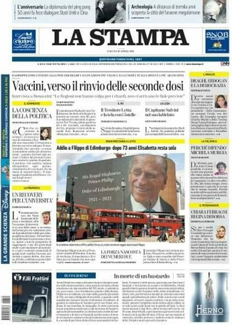 Italian paper La Stampa with a picture of the duke being beamed out in Oxford Circus to honour him yesterday.La Stampa wrote: 'Farewell to Philip of Edinburgh: After 73 years, Elizabeth is alone'