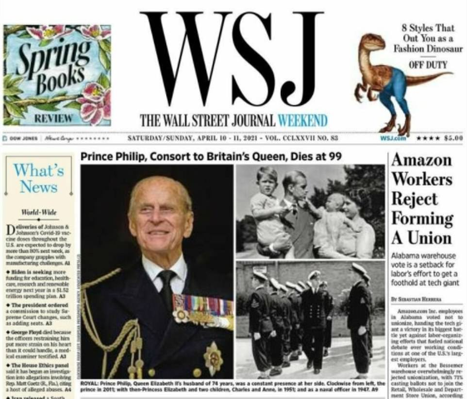 UNITED STATES: The Wall Street Journal featured images of the duke in naval attire, remembering his wartime career, and another of him with then-Princess Elizabeth and two children, Charles and Anne, in 1951