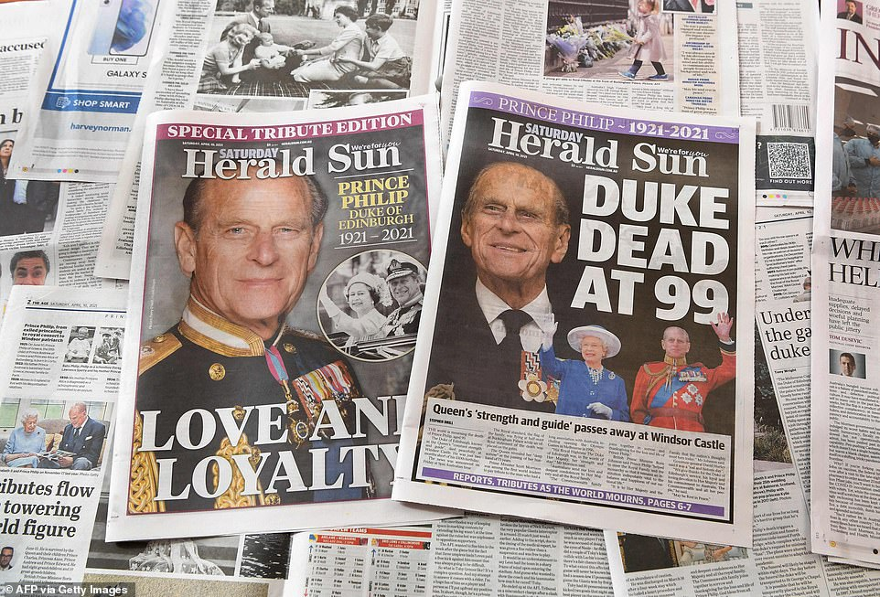 AUSTRALIA: The front of the Saturday Herald Sun and a special pullout for the duke are pictured at a newsagents in Melbourne today
