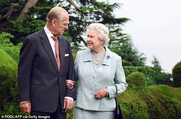 The Queen announced the death of her husband, Prince Philip, at noon on Friday as the Union Flag was at half mast outside Buckingham Palace.  Pictured the Queen and Prince Philip in 2007