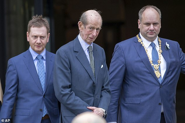 Prince Edward, Duke of Kent (centre, is welcomed in front of the New City Hall by Michael Kretschmer, left, Prime Minister of Saxony, and Dirk Hilbert, right, Lord Mayor of the State Capital Dresden, Germany, last year). He may be at the wedding