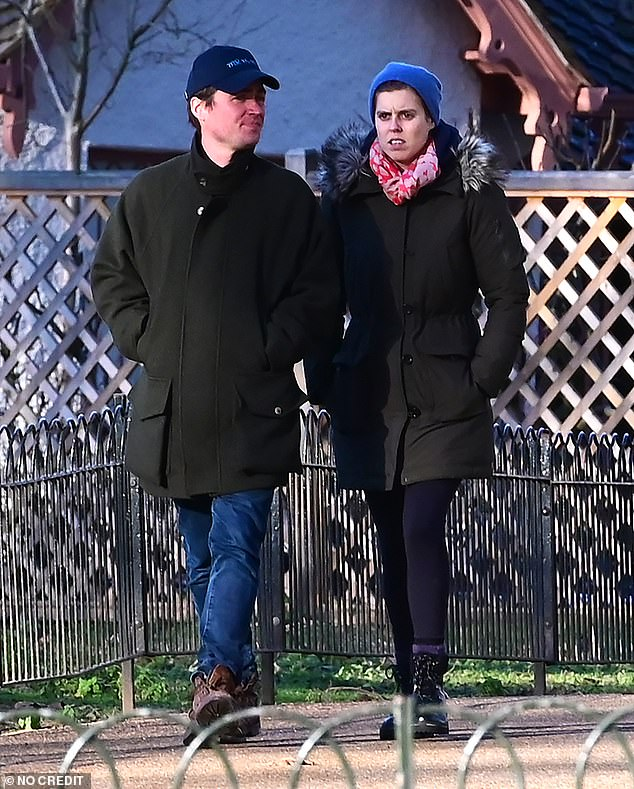 Princess Beatrice (spotted enjoying a wintery afternoon stroll with her husband Edoardo Mapelli Mozzi in London in January) could be there with her husband