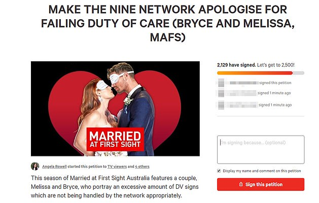 Triggered: Additionally, a Change.org petition asks Channel Nine to apologize for airing 'trigger' scenes involving the 'gas' groom and his long-suffering wife.