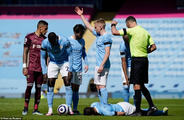 The Leeds defender brought down City striker with a reckless challenge which had initially seen him yellow carded