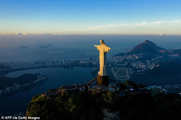 He is taller than Christ the Redeemer (pictured) which overlooks Rio de Janeiro