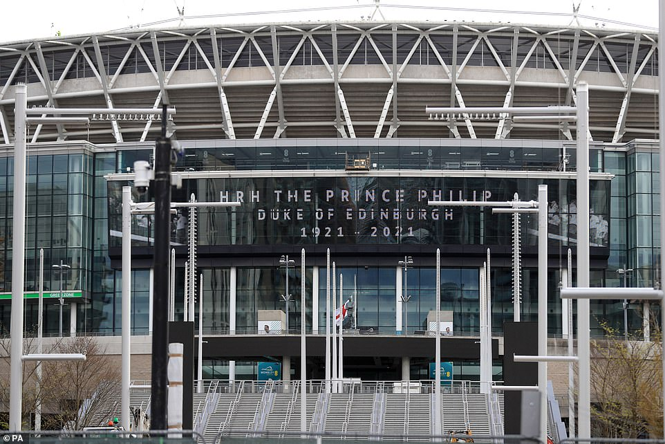 England football team's ground Wembley Stadium also displayed a prominent tribute (above)