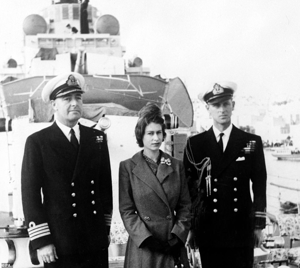 She is the modern successor to the destroyers the Duke of Edinburgh served on during World War Two as part of his 14-year naval career. Pictured is Philip (right) with the Queen andCaptain John Edwin Home McBeath on HMS Chequers, which the prince served on