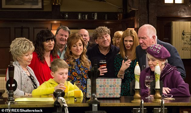 Back: Corrie and Emmerdale will return to screens next week for one-hour episodes after being pulled off air in the wake of Prince Philip's death (pictured: Emmerdale cast in2018 still)