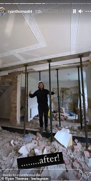 Transformation: Ryan looked thrilled with his work after knocking down a wall