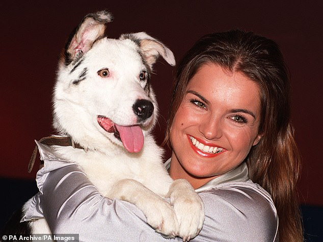 Flashback: Katy landed her dream job on Blue Peter in 1995 and married Andrew Frampton, whom she divorced two years later (pictured with dog Blue Peter Mabel in the 90s)