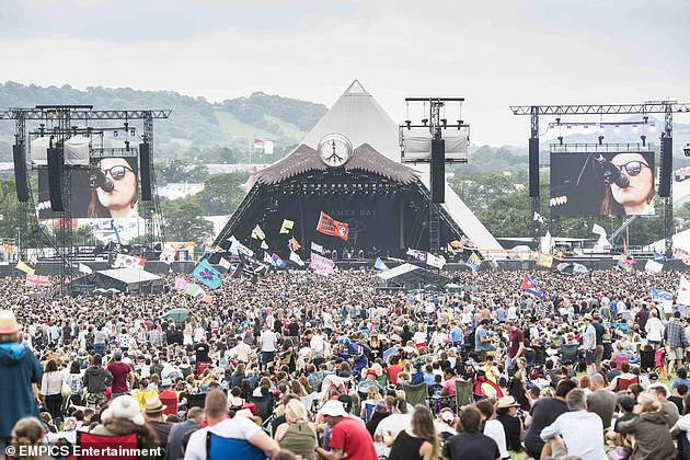 Under the Prime Minister's roadmap, large outdoor sports facilities would be allowed to operate at a maximum capacity of 25% from May 17, with a maximum of 10,000 spectators (pictured: crowd at Glastonbury)