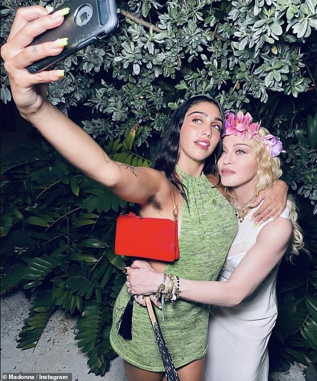 Sisters?Madonna's daughter Lourdes looked the spitting image of her famous mother as they posed for a selfie on Saturday