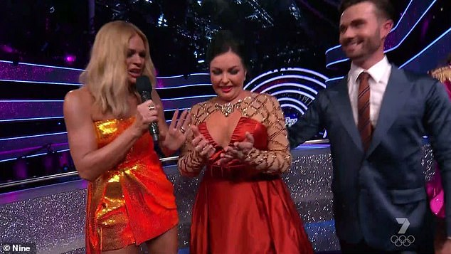 'I was so nervous, screaming in the back': Visibly nervous Schapelle Corby made a dazzling debut in Dancing with the Stars: All Stars on Sunday night - and even got a public apology from one of her critics .  Pictured with host Sonia Kruger and dance partner Shae Mountain