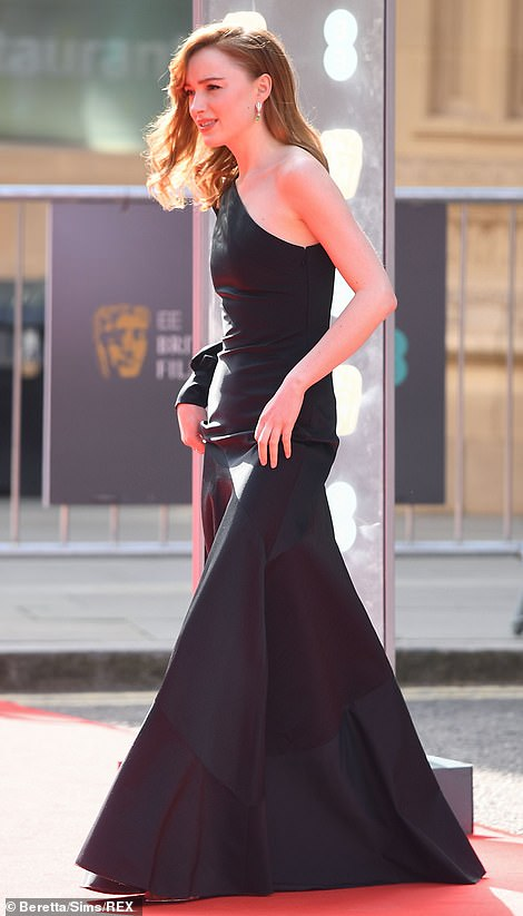 Stunning: Ahead of the red carpet Phoebe was seen making her way into the ceremony