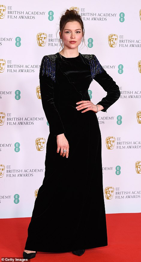 Perfect: The look highlighted her trim physique as she headed down the red carpet